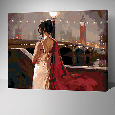 Painting by Number kit Urban Nightscape Fashion Lady Near The Street Lamp YZ7424