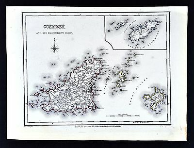 1831 Lewis Map England - Guernsey - Island of Sark Alderney St. Peter Point