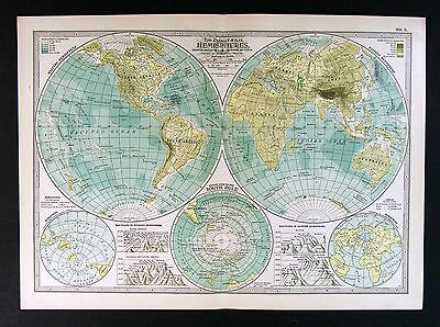 1902 Century Atlas Map - Physical World in Hemispheres - Mountains South Pole