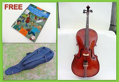 Student 3/4 Cello for School Kids Learner + Case +Cello Time Sprinters Book $ CD