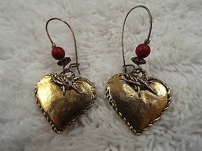 Goldtone Rustic Heart Pierced Earrings (C27)