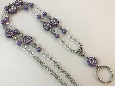 Purple Dazzle Lanyard, Beaded Lanyard, Silver Chain Lanyard, Breakaway Opt.