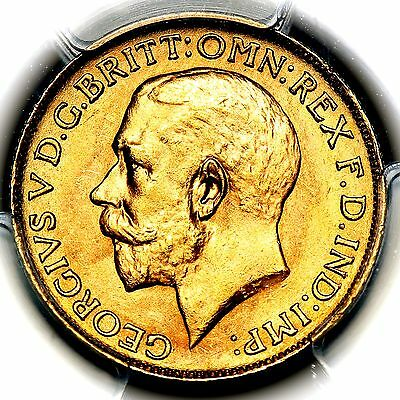 1919 P King George V Australia Perth Mint Gold Sovereign Coin PCGS MS64+