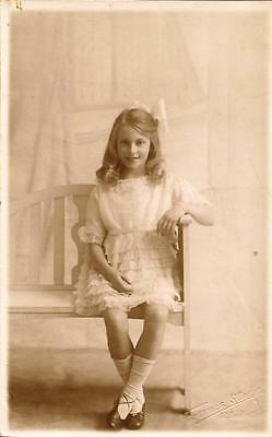 Young Girl on Seat- Used Postcard
