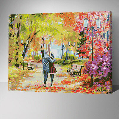 Painting by Number kit Walking In The Woods Late Autumn Golden Forest DIY YZ7453