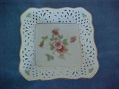 No Res Square Porcelain Dish Schumann Germany Reticulated Roses Arzberg Bavaria