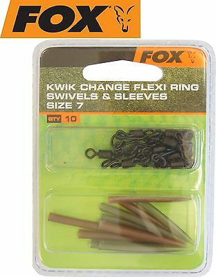Fox Kwik Change Flexi Ring Swivels & Sleeves Gr. 7, Karpfenwirbel, Angelwirbel