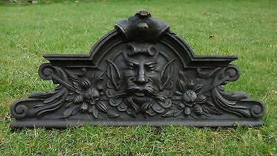SUPERB 19thc GOTHIC OAK CARVED PEDIMENT WITH DEVILISH GREEN MAN HEAD C.1850