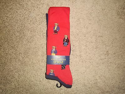 Polo Ralph Lauren 2 Pairs Men Socks Red Bears Navy Solid Sz 10-13 NWT