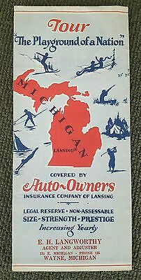 Vintage MICHIGAN Road MAP from AUTO OWNERS INSURANCE CO. Lansing