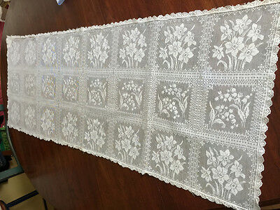 Antique Floral Net Lace Runner 17X46 Museum Piece Lily of Valley Daffodil