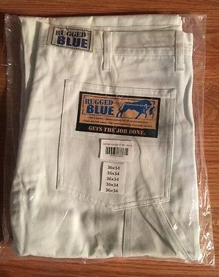 """Rugged Blue"" Brand Men's All-White Painters Pants 36X34 -Brand New- 100% Cotton"