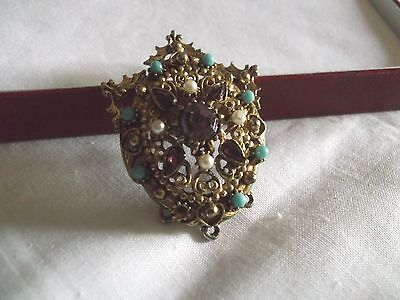 Pretty Vintage Purple Turquoise Glass Stone Brooch/pendant