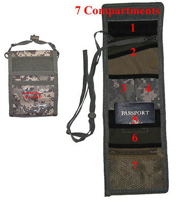 Military Style PASSPORT ID Ipod Wallet Pouch Neck Strap Holder Travel - ACU