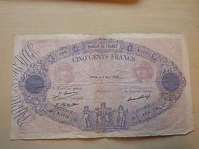 France 500 Francs Bleu Et Rose 3 Avril 1928