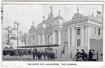 Moment In Time Printed Postcard White City Entrance Facade-Manchester 1907