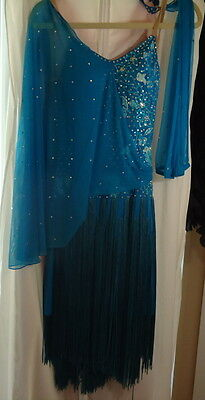 NEW Latin RHYTHM Ballroom Competition DANCE DRESS Blue Fringe Rhinestones Medium