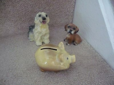 Two Dog Ornaments And A Fantastic Pig