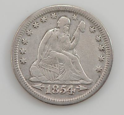 1854-P Seated Liberty Silver Quarter Dollar *G21