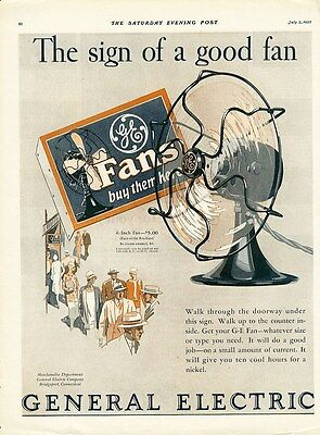 GENERAL ELECTRIC Fan Ad 1927 Shows 6 inch Appliance Fan GE