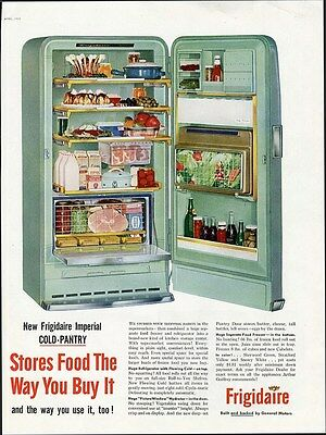 FRIGIDAIRE REFRIGERATOR aD 1955 - Show Open in Turquoise KITCHEN Art