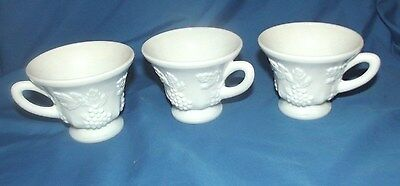 3 FOOTED  COFFEE CUPS VINTAGE MILK GLASS GLASSWARE 50s GRAPES LEAFS & VINES VGC