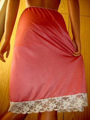 Vtg Dorothy Perkins Coral or Salmon Pink Silky Nylon & Ivory Lace Half Slip Pett