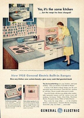 GENERAL ELECTRIC Oven Stove Ad 1958 - Pink Mid Century Modern KITCHEN Art