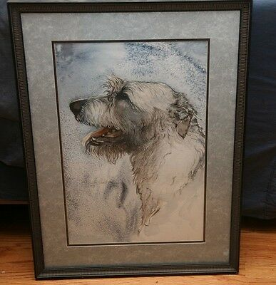Irish Wolfhound Framed Watercolor by Martha Van Loan