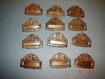 12 Antique Brass Boston Name Tag Pins With Famous Historic Scenes