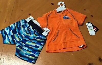 Nwt Boy's Quicksilver Board Shorts And Hoodie Size 3-6 Mos Orange/blue $44.50