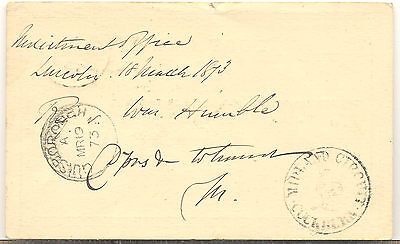 GB 1873 postal stationery postcard from Lincoln to Guisborough