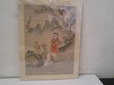 Antique  19Th Century  Chinese  Watercolour  On  Silk -  Old Man & Boy