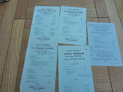 1950s FITZNELLS CONCERT CLUB CLASSICAL PROGRAMMES X 5 HAND SIGNED PERFORMERS
