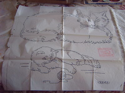 Vintage Embroidery Transfers - Cats - 3 Copies - Deightons - For Coarse Fabric