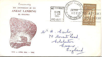Australia 1965 Anzac 5d. first day cover to Colchester