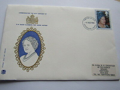 Gb Fdc First Day Cover Queen Mother 80Th Birthday 1980 Stuarts Cover Stevenage