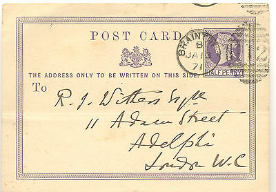 GB 1871 postal stationery postcard from Braintree to London