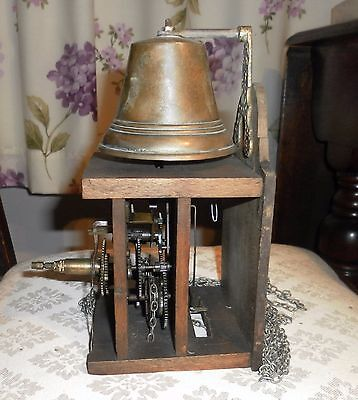 Antique Wood Clock Movement With Brass Bell Top