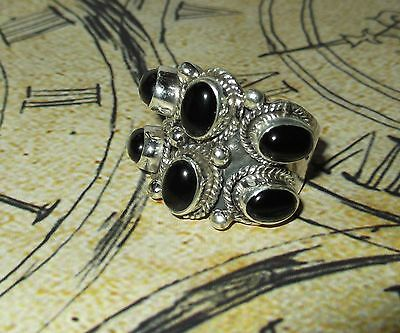 925 Indian Sterling Silver BLACK ONYX LARGE WIDE Pagan Wicca Ring Size Q 1/2 NEW