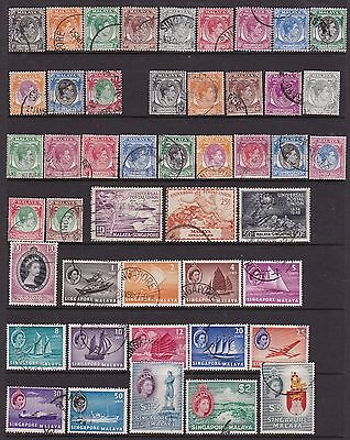 Singapore Kgvi-Early Qeii Used Collection 88 Stamps Cat £147+