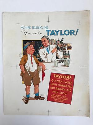 Large Rare 1940s Proof Advertising Packaging Label Taylors Lager Ale Nairobi