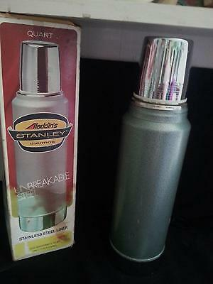 Vintage Aladdin Stanley Stainless Steel Green Thermos 1976 in Orig. Box Unused