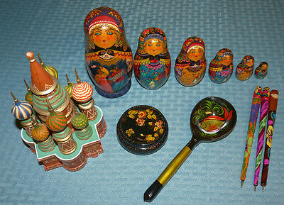 Lot of Hand Painted Russian Items Signed Nesting Doll Matryoshka Lacquer Box Pen