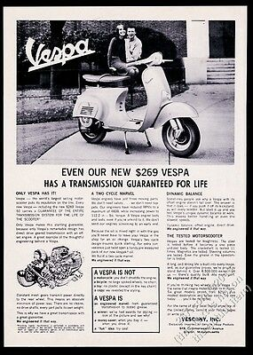 1964 Vespa scooter moped photo and transmission diagram vintage print ad