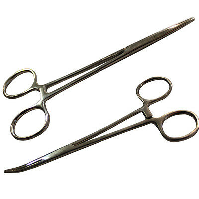 "5.5"" Hemostat Forceps Locking Clamps Stainless Steel Set of 1 Straight 1 Curved"