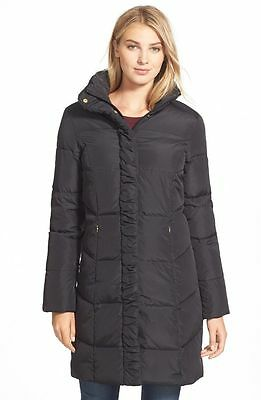 Women's Ellen Tracy Ruched Stand Collar Down Coat Black Size M