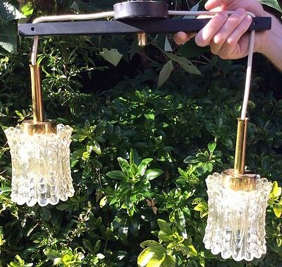 Vintage Mid Century Asymmetric Double Pendant Ceiling Glass Shade Light Lamp
