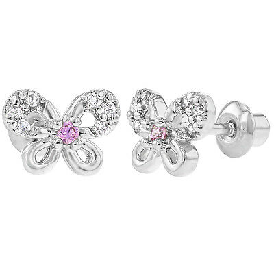 Rhodium Plated Clear & Pink CZ Butterfly Screw Back Little Earrings Baby Toddler