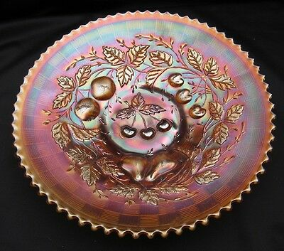 Vintage Carnival Glass Northwood Marigold Three Fruits 9 Inch Flat Plate